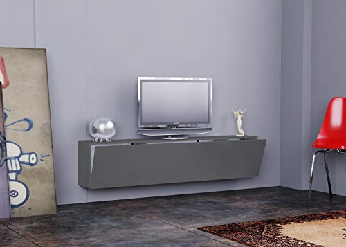Tecnos, porta tv mod. Revuska, colore antracite lucido, dim. 180 x 30 x 40h cm