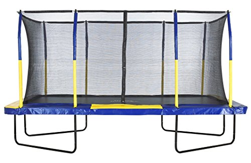 Massive trampoline, top of its class with heavy-duty frame structure, rust-resistant springs, incredibly durable jumping mat, protective safety pads, and foam covered poles. These features come at a premium, though.