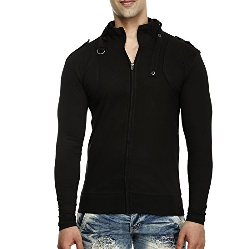 Tees Collection Men's Stylish Full Zip Buckle Neck Full Sleeve Slim Fit Black Colour T-Shirt (Large)