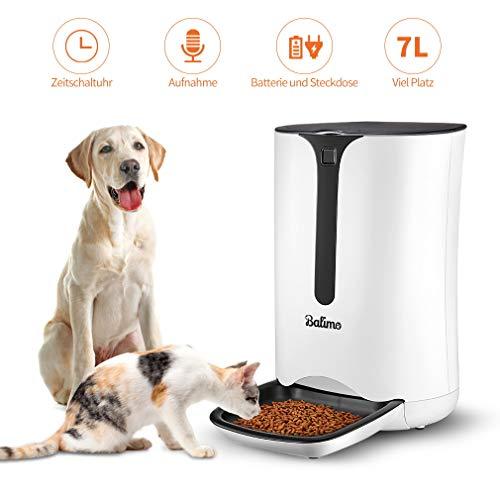 Balimo Smart Futterautomat für Katze und Hund, Automatischer Futterspender mit Timer für bis zu 4 Mahlzeiten pro Tag, Verteilungsalarm, Portionssteuerung, Sprachaufzeichnungsgerät, 7L, Weiß