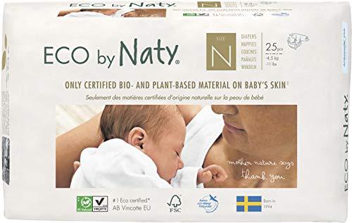 Eco by Naty, Taglia Neonato, 100 pannolini, -4.5kg, fornitura di UN MESE, Pannolino ecologico premium a base vegetale con lo 0% di plastica a base di petrolio sulla pelle.