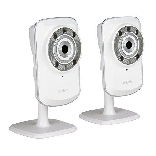 D-Link DCS-932L Set di 2 Videocamere di Sorveglianza Cloud, Wireless N, Visore Notturno, Rilevatore di Movimenti e Suoni, Notifiche Push per iPhone/iPad/Smartphone, Bianco