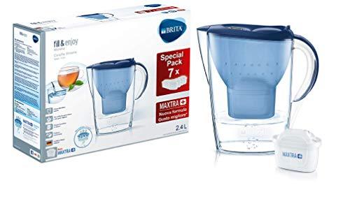 BRITA Kit Marella con 7 filtri MAXTRA+ - Caraffa filtrante per acqua, capacità 2.4 L, blu, 7 filtri...