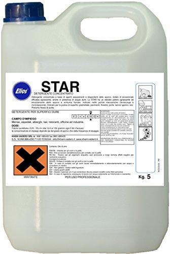 Elios - STAR lavapavimenti detergente sgrassante bassa schiuma per lavasciuga profumato kg.5 -...