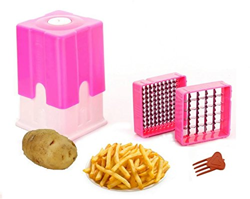 Bluzon Premium Potato Finger Chips Cutter Or French Fry Cutter (Pink)