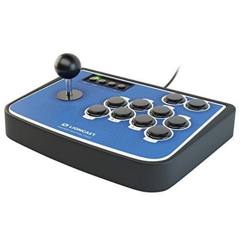Lioncast Controller Joystick per Combattimento Arcade con Pulsanti Programmabili, Sanwa, Modalità Turbo / Rapida con Piedini in Gomma per PC / PS4 / Nintendo Switch - Blu