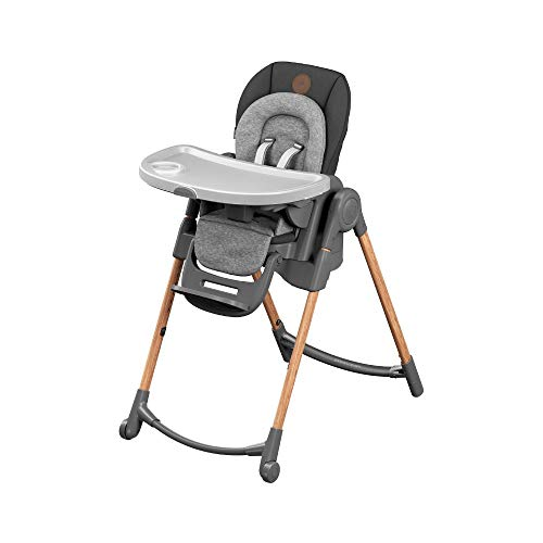 Bébé Confort Minla Seggiolone Pappa, 6 funzioni in 1, 9 Misure Diverse, Reclinabile con cuscino riduttore, sdraietta, sgabello e rialza sedia, per bambini 0-7 anni, colore Essential Graphite