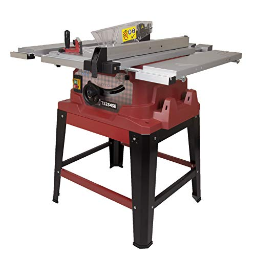 We think this table saw is a worthy pick in this regard. It has all the basics at a very decent price. First, it's the 1500W motor that sends the blade spinning at 4,500 rpm to cut through material. Then there's the extendable table that increases its capacity to hold up to 8 x 4 sheets of material.