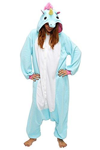Tier Schlafanzug Erwachsene – Dizoe Einhorn Pyjamas Kostüm Jumpsuit Karneval Cosplay Kostüm Unisex Kigurumi Tieroutfit Unisex
