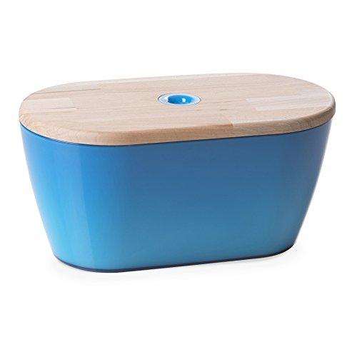 Omada Woody Brotkasten mit Deckel/Schneidbrett aus Buchenholz, 34,5 cm, blau