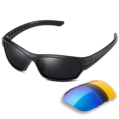 DUCO Polarisiert Sports Herren Sonnenbrillen für Ski Driving Golf Laufen Radfahren Tr90 Superlight Rahmen mit 3 Wechselgläsern 6216 (Schwarz)