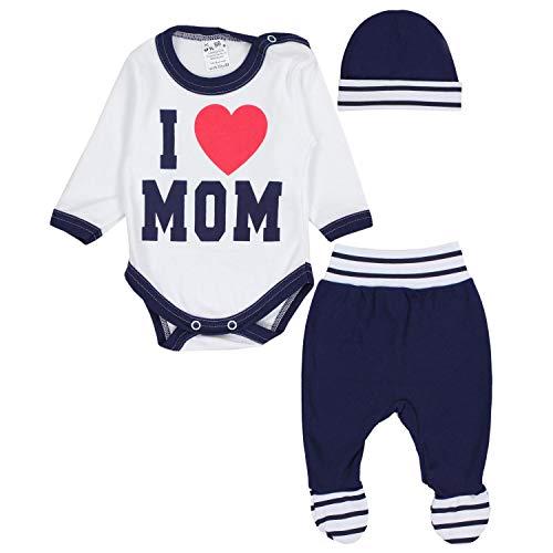 TupTam Baby Kleidung Set Body Strampelhose Mütze Teddybär, Farbe: I Love Mom Dunkelblau, Größe: 62