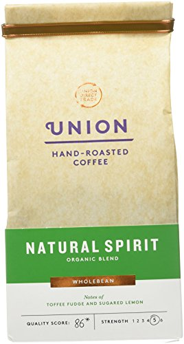 Union Natural Spirit coffee beans (a candied lemon, chocolate truffle, fudge coffee with aromas of caramel and roasted, dried fruit and chocolate, dried fruit and citrus fruit)