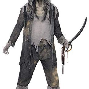 Smiffys-21331L Halloween Disfraz de espíritu de Ghost Ship, con Chaqueta, pantalón y Sombrero, Color Gris, L-Tamaño 42…
