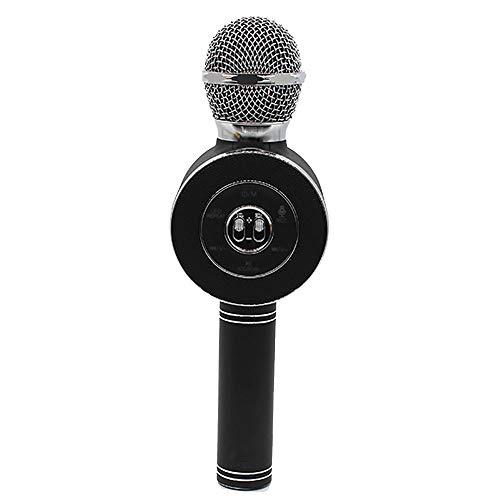 Micrófonos de karaoke para niños Micrófono inalámbrico Bluetooth Karaoke con luces LED de flash, manija de aleación de aluminio, altavoz, PC compatible y todo tipo de teléfonos inteligentes,Black