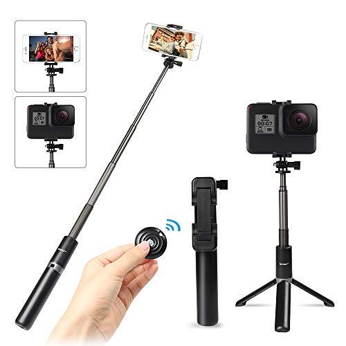 Innoo Tech Bastone Selfie Telecomando Removibile Bluetooth, Selfie Stick Bluetooth Action Cam, Bastone Selfie Bluetooth Estensibile per iPhone/Xiaomi/Huawei/Samsung/Gopro, Bastone Selfie treppiede
