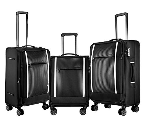 ROMEING Bruna Softside Spinner Luggage Polyester Expandable 3 Piece Set Trolley Bags (Black) (55, 65 & 75 cms)