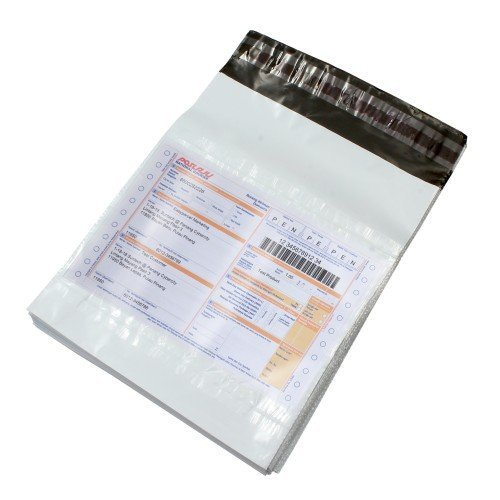 Securement Plastic Tamper Proof Courier Bag/Envelope/Polybag for Packing, 60 Micron, 8 Inch x 10 Inch, White and Black, Pack of 100