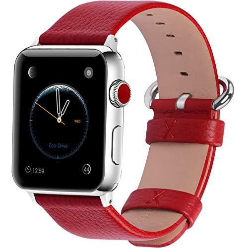 Fullmosa Compatibile Cinturino per Apple Watch 38mm/40mm e 42mm/44mm,15 Colori Yan Pelle Cinturino/Cinturini di Ricambio per Apple Watch,Cinturino per iWatch Series 5,4,3,2,1, Uomo e Donna, Rosso