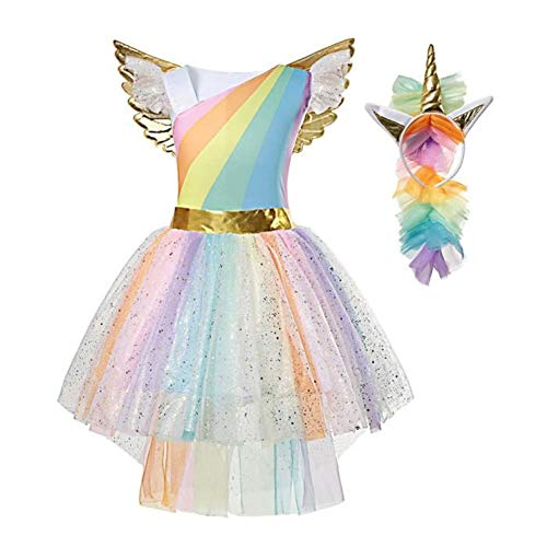 Vestito da Unicorno tutù Costume da Principessa per Bambina, XL