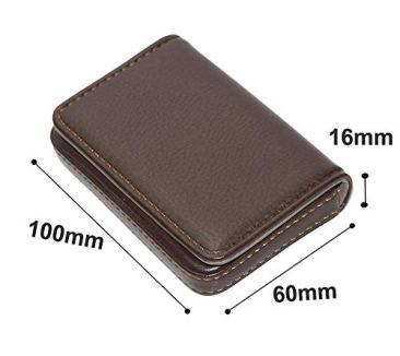 Storite Pocket Sized Stitched Leather Credit Debit Visiting Card Holder (Coffee Brown) 3