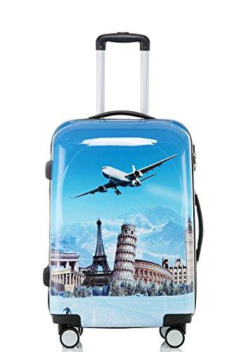 Polycarbonat Hartschale Koffer 2060 Trolley Reisekoffer Reisekofferset Beutycase 3er oder 4er Set in 7 Motiven (Flug(3er Set)) - 2