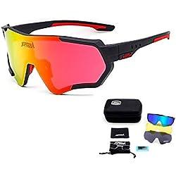 TOPTETN Gafas de Sol Deportivas polarizadas Protección UV400 Gafas de Ciclismo con 3 Lentes Intercambiables para Ciclismo, béisbol, Pesca, esquí, Funcionamiento (Black Red)