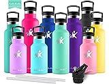 KollyKolla Vakuum-Isolierte Edelstahl Trinkflasche, 750ml BPA-frei Wasserflasche mit Filter, Thermosflasche für Kinder, Mädchen, Schule, Kindergarten, Sport, Wandern, Camping, Outdoor, Macaron Grün