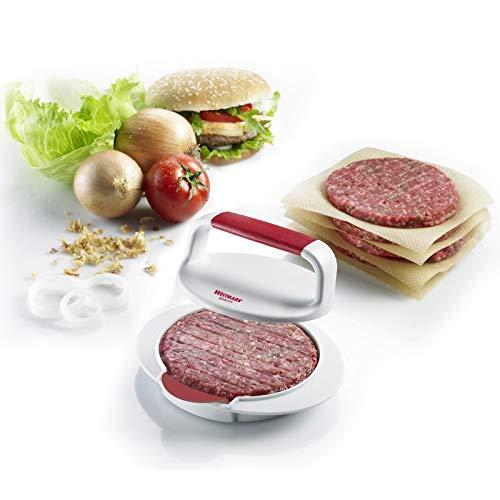 Westmark Hamburgermaker mit Patty-Hebevorrichtung, Hamburger-Presse, Innendurchmesser 11,5 cm, Kunststoff, Weiß/Rot, 62332260