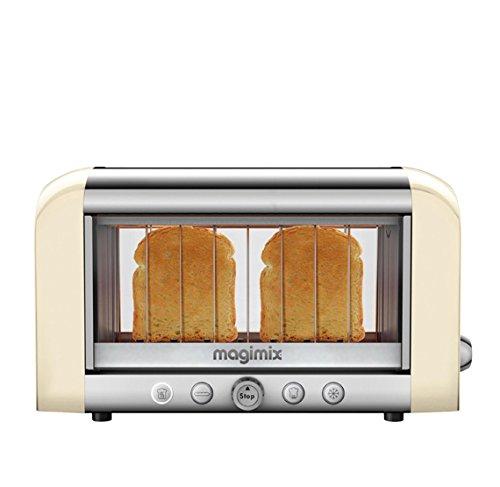 Magimix 11539 Toaster, Aluminium, Glas, Edelstahl, Crème, Argent