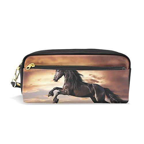 Bennigiry Black Friesian Horse Gallop zip rettangolare grande tessuto astuccio-scuola make-up