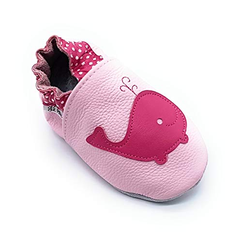 LEPEPPE - Scarpine in Pelle Prima Infanzia - Pantofole Scarpine Babucce - Neonato - Nido - Materne Danza - Primi Passi Fino al 32/33!!! Balena Rosa (XL (15,5 cm di Suola))