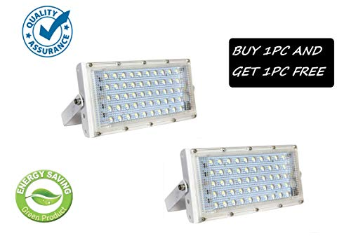 FEMINGO 50 Watt 220-240V Waterproof Landscape IP65 Perfect Power LED Flood Light (White) (Buy 1PC GET 1 Free)