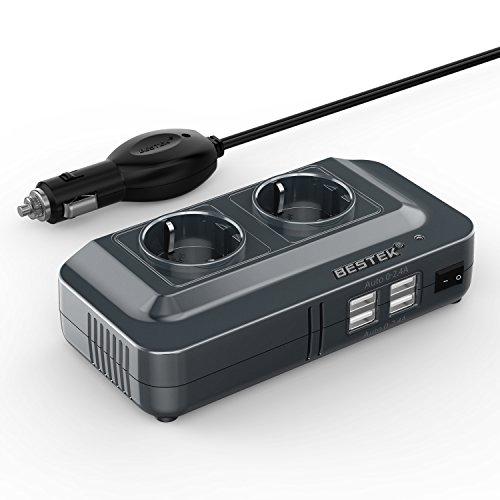 BESTEK 200W Inverter da Auto 12V a 230V con 4 Porte Smart USB 2 Prese AC, Convertitore Potenza per...
