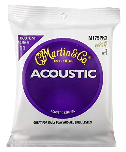 Martin 80/20 Bronze Acoustic Guitar Strings 3-PackM175 11-52