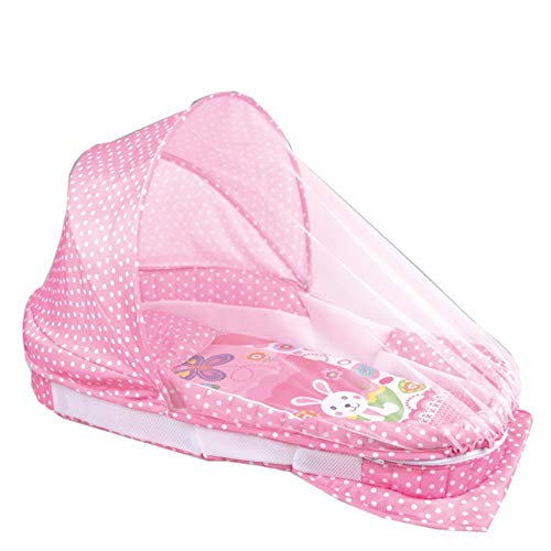 Babies Bloom Pink Baby Portable Separate Bed Multifunctional Music Lights Crib with Mosquito Net
