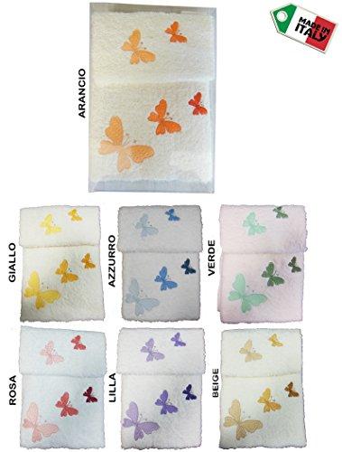 Lovely Home-Set de Toalla de Baño de Acogida Déco Mariposa Made In Italy Mariposas
