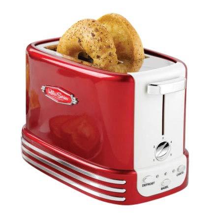 Retro Line Bread Toaster Model 2 Tostapane pane e bagels, rosso, bianco