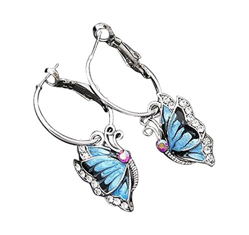 Niños Pendientes de aro pendientes pendientes pendientes de mariposa brillantes plata azul