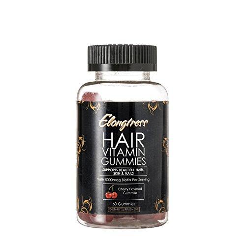 Capelli Elongtress gommosa supplemento di vitamina della pelle capelli e unghie gummies - Biotina 5000mcg per porzione - Vitamine capelli per la crescita dei capelli più veloce