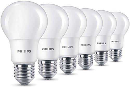 Philips - Pack de 6 Bombillas LED Esférica Casquillo E27, 8 W, Equivalente a 60 W, Luz Blanca Cálida, 806 Lúmenes