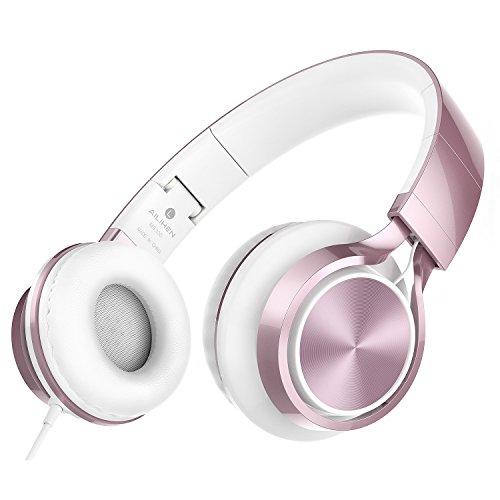 AILIHEN MS300 Kopfhörer, Stereo Faltbare Wired Mädchen Headset für iPhone iPad iPod Android Smartphone Laptop Tablet PC Computer, Rose Gold