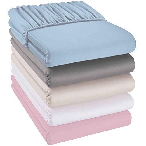 quschel® Kinder-Spannbettlaken weiß 70x140cm aus 100% Bio-Baumwolle, GOTS zertifiziert