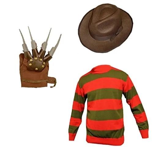 Disfraz para niños y niñas, diseño del personaje de terror Freddy Krueger, para Halloween, incluye sombrero, jersey y guantes, tallas: 7/8,9/10 y 11/12 años