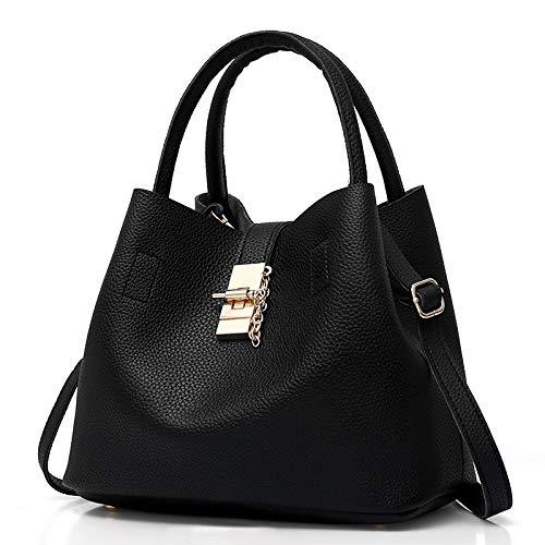 BECLINA Elegant PU Leather Women's Tote Hobo Shoulder Bag Modern Bucket Bag (Black)