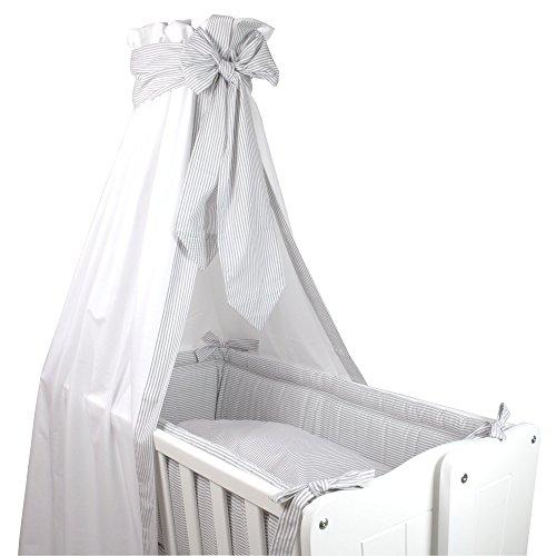 Sugarapple Wiegenset 4-teilige textile Ausstattung für Pendelwiegen mit Bettbezug 80x80, Kissenbezug 40x35, Nestchen und Betthimmel in Streifen grau