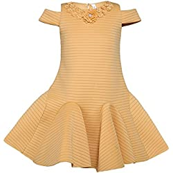 Hunny Bunny Girls Self Design Cold Shoulder Knee Length Dress Beige 6-7 Years