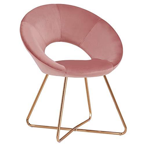 Duhome Sedia da Sala da Pranzo in Tessuto (Velluto) Rosa Sedia di Sala d'attesa conferenza Design Straordinario con Piedini in Metallo Sedia Imbottita Selezione Colore 439D