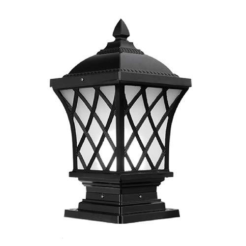 Grande Outdoor palo della luce - Pillar LED Cap Luce Water-Resistant Luce, tradizionale Stile vittoriano Fusioni Lampada colonna in alluminio for Outdoor Garden Messaggio (Color : Black-S)
