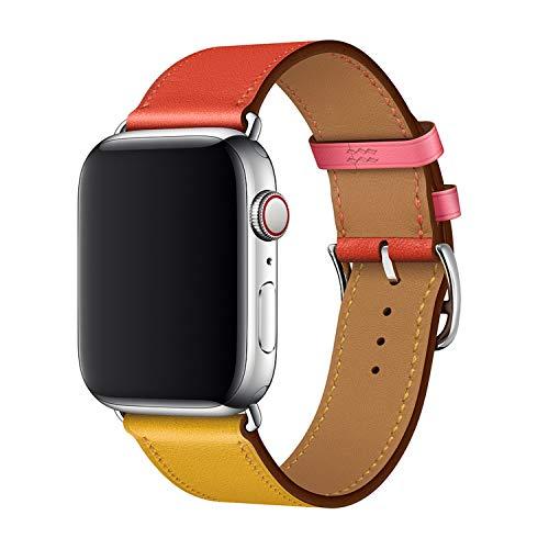 XCool Cinturino Apple Watch 38mm 40mm, Pelle Rosso Rosa Blu Arancia per Donna Uomo per iwatch Serie 4 Serie 3 Serie 2 Serie 1 (42mm/44mm, Arancio&Rosa)